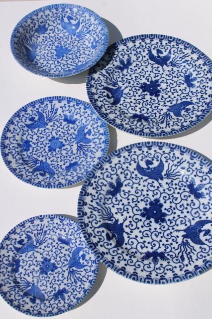 vintage japanese blue white china phoenix ware birds pattern dishes plates bowl