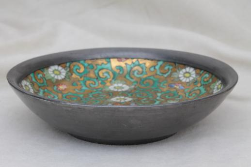 vintage Japanese porcelain bowl, hand-painted china bowl w/ pewter cladding