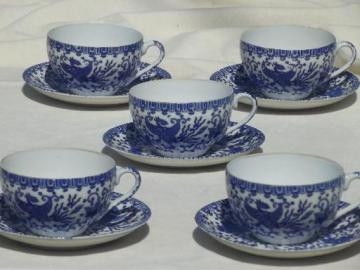 vintage Japanese tea cups set, blue & white china Phoenix ware birds