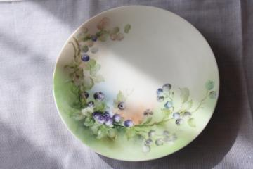 vintage Jean Pouyat Limoges china plate, hand painted blueberries