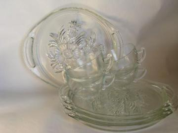 vintage Jeanette glass, camellia flower pattern snack sets, plates & cups