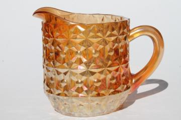 vintage Jeannette glass iridescent marigold luster pitcher, Holiday buttons & bows milk jug