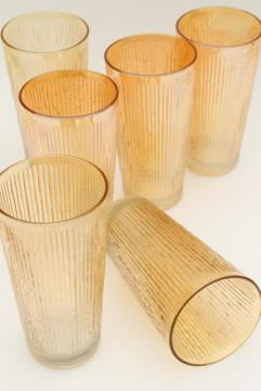vintage Jeannette tree bark textured glass iced tea glasses, marigold iridescent carnival