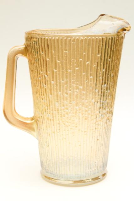 Vintage Jeannette Tree Bark Textured Glass Pitcher Amp Tumblers Marigold Iridescent Carnival