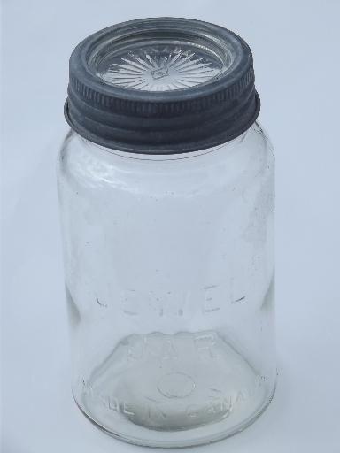 Vintage Jewel Jar Glass Canning Jar Made In Canada Old