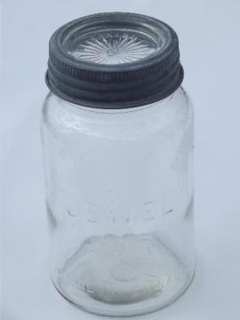 vintage Jewel Jar glass canning jar Made in Canada, old zinc band lid