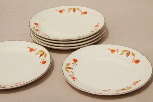 vintage Jewel Tea autumn leaf bread u0026 butter plates Hall china Jewel T dinnerware : autumn leaf dinnerware - Pezcame.Com