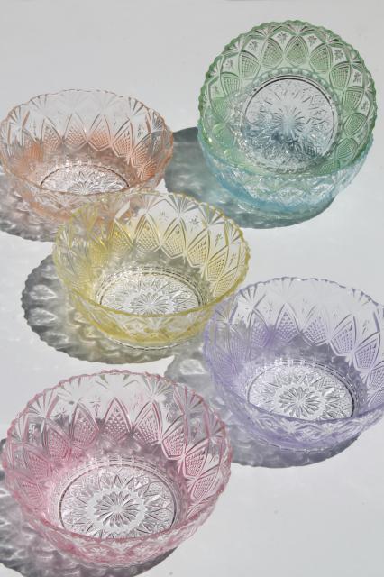 Vintage Kig Indonesia Pastel Tint Pressed Glass Bowls