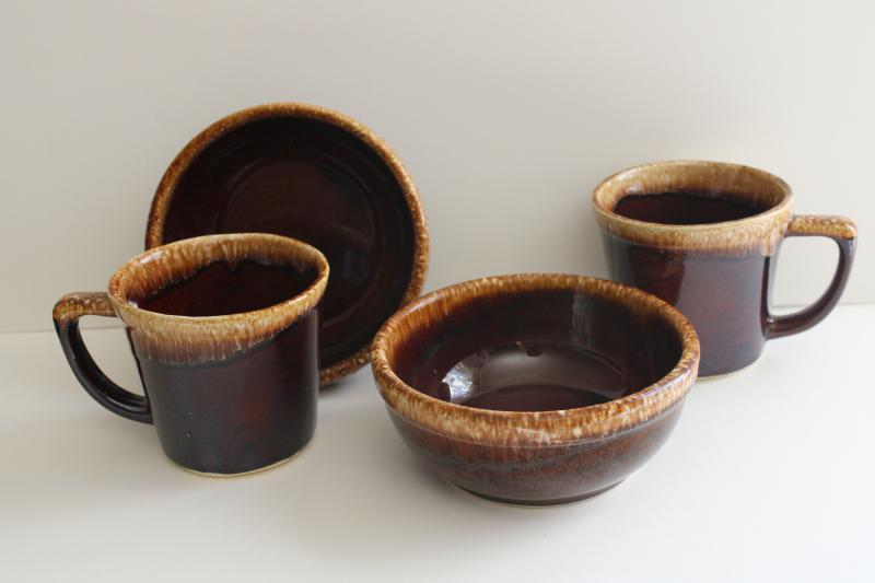 vintage Kathy Kale McCoy brown drip glaze pottery soup or cereal bowls & coffee mugs