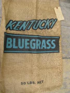 vintage Kentucky Bluegrass seed sack, old farm primitive burlap bag