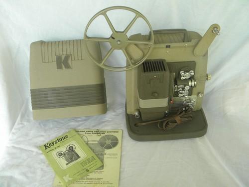vintage Keystone K-100 8mm movie film projector w/case, mid century deco
