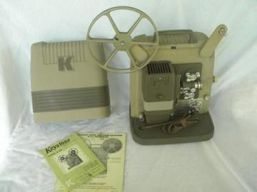 vintage Keystone K-100 8mm movie film projector w/case, mid century deco