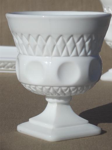 Vintage Kings Crown Milk Glass Cream Amp Sugar Set W Tray King S Crown