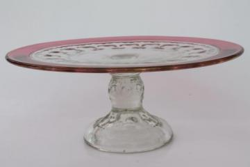 vintage King's Crown ruby flash thumbprint glass cake stand dessert plate