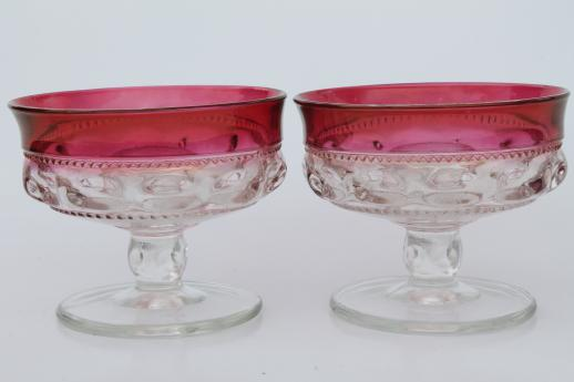 vintage Kingu0026#39;s Crown ruby flash thumbprint glass candy dish u0026 candle holders