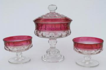 vintage King's Crown ruby flash thumbprint glass candy dish & candle holders
