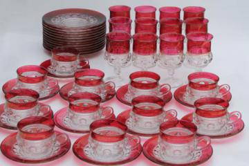 vintage King's Crown ruby flash thumbprint glass dishes complete set for 12