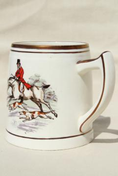 vintage Kirkham pottery ceramic mug, cup w/ English hunt scene hounds & horses