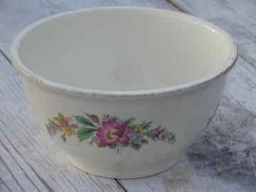 vintage Kitchen Kraft pottery mixing bowl, shabby cottage floral print