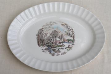 vintage Knowles china platter, multi-colored Currier & Ives millpond scene over the river