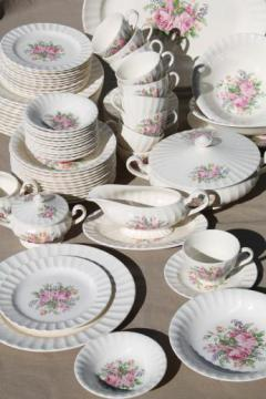 vintage Knowles rose bouquet china set for 12, pink cabbage roses & flowers