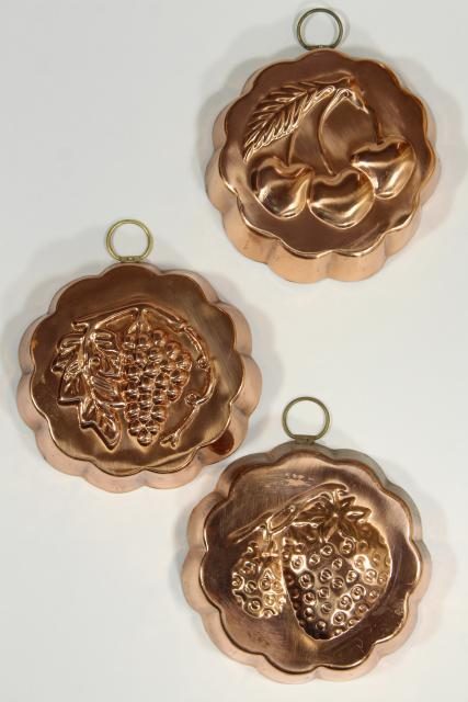 vintage Korea tinned copper molds, fruit jello mold wall hanging collection