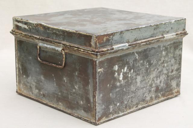 vintage kreamer bread box or storage tin metal box w