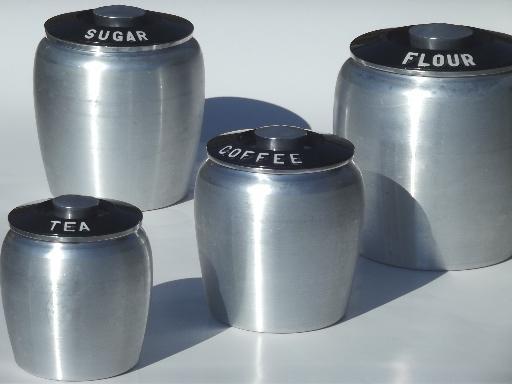 Vintage Kromex Spun Aluminum Canister Set Retro Kitchen Canisters