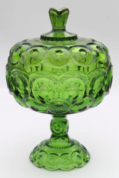 vintage L E Smith Moon & Stars green glass tall large compote bowl w/ lid