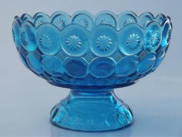 vintage L E Smith moon & stars  glass compote bowl, retro aqua blue glass
