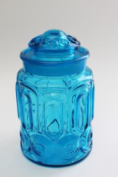 vintage LE Smith blue glass Moon & Stars pattern small canister jar w/ lid