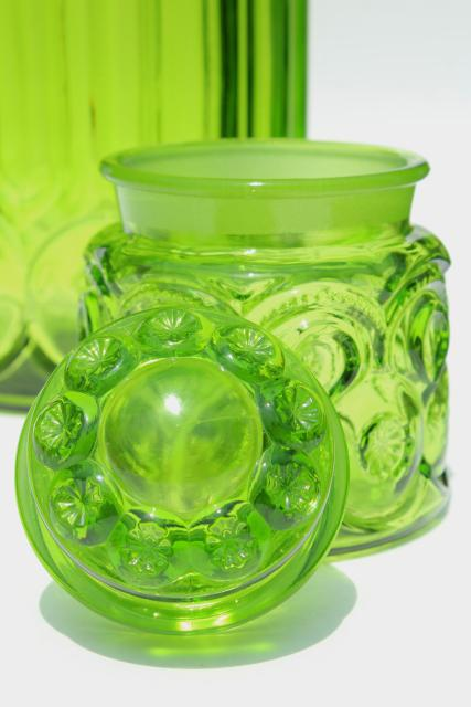 vintage LE Smith moon & stars pattern glass canisters, green glass jars w/ lids
