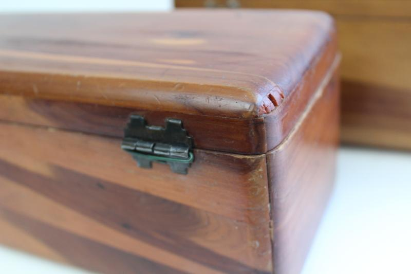 vintage Lane mini cedar chest boxes, wood keepsake boxes without keys