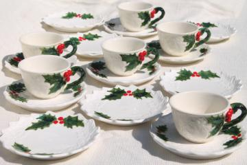 vintage Lefton Christmas holly white china coffee cups dessert plates set, hand painted Japan