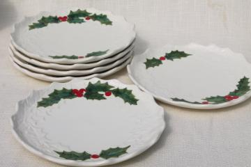 vintage Lefton Christmas holly white china dinner plates, hand painted ceramic made in Japan