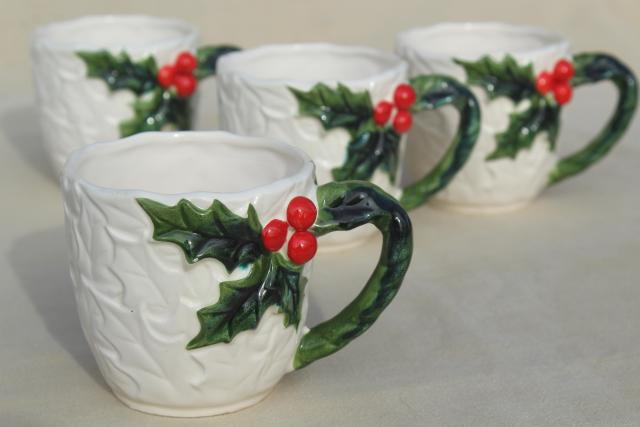 vintage Lefton Christmas mugs, white china  w/ red & green holly, made in Japan
