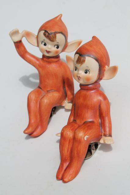 vintage Lefton Japan china pixies clip on ornaments, elf fairies w/ russet red fall color