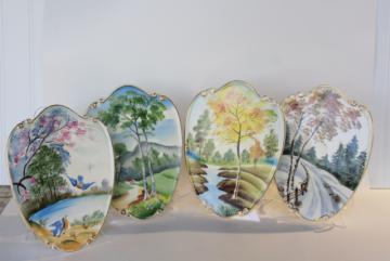 vintage Lefton Japan hand painted china wall plaques, changing seasons of the year