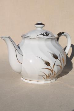 vintage Lefton - Japan wheat pattern teapot, white china tea pot w/ gold wheat