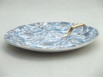 vintage Lefton blue paisley chintz china lemon server plate, Lefton's Japan