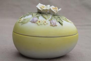 vintage Lefton china Easter egg box, hand-painted bisque porcelain