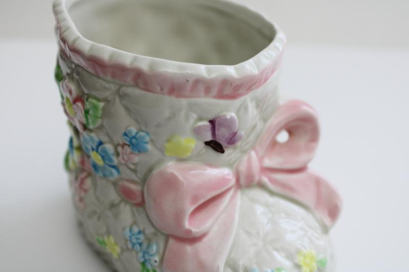 vintage Lefton china, hand painted Japan ceramic planter, 1980s baby bootie