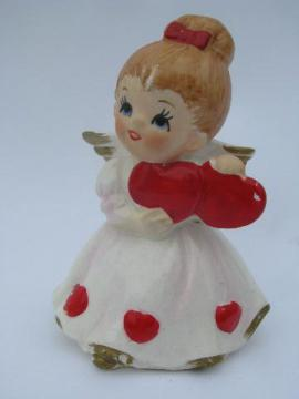vintage Lefton china little girl angel figurine, valentine sweetheart w/ hearts