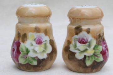 vintage Lefton china salt & pepper shakers w/ hand-painted roses, Lefton's Japan