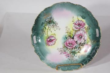vintage Lefton china serving plate, handled tray w/ hand painted poppies