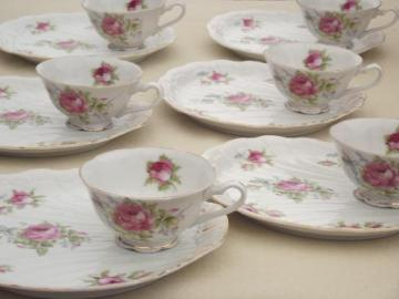 vintage Lefton china snack sets, hand painted pink roses tea cups & trays