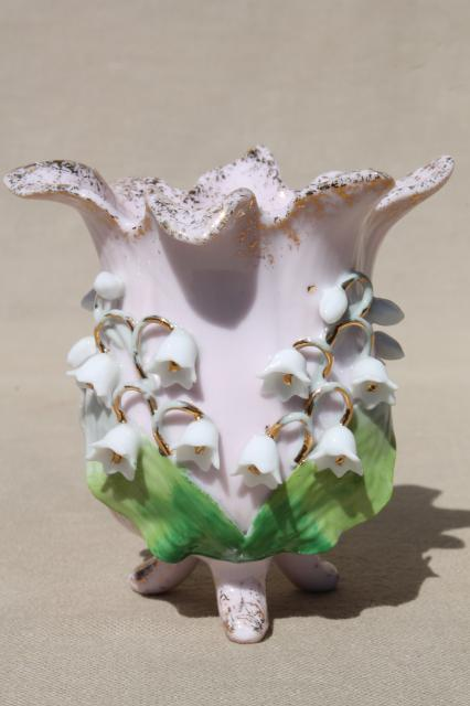 Vintage Lefton China Vase For Lilies Of The Valley China Lily
