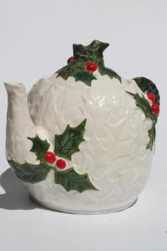 vintage Lefton china white holly Christmas tea pot, Lefton's Japan