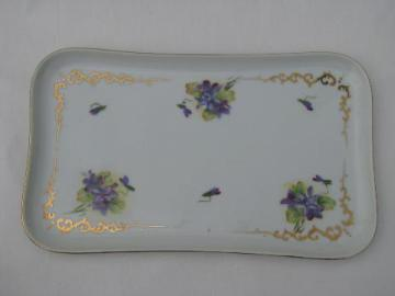 vintage Lefton hand painted china dresser or vanity tray