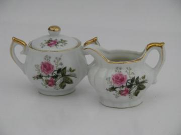 vintage Lefton moss rose china mini cream pitcher and sugar bowl set